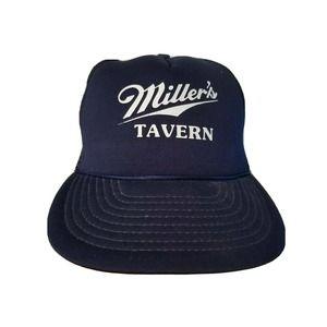 Vintage Miller's Tavern Trucker Hat Cap Beer Alcohol Navy Blue White Strapback